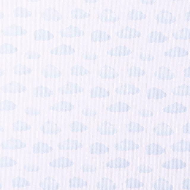 Tissu Piqué de Coton Nuages bleu ciel sur fond Blanc - Par 10 cm