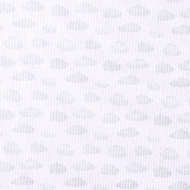 Tissu Piqué de Coton Nuages vert d'eau sur fond Blanc - Par 10 cm