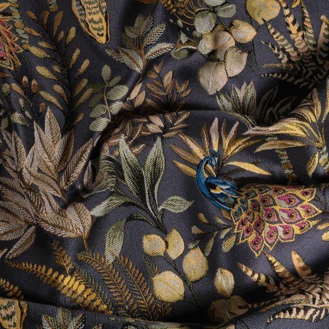 Tissu Toile jacquard Amadeus sur fond Bleu marine - Par 10 cm
