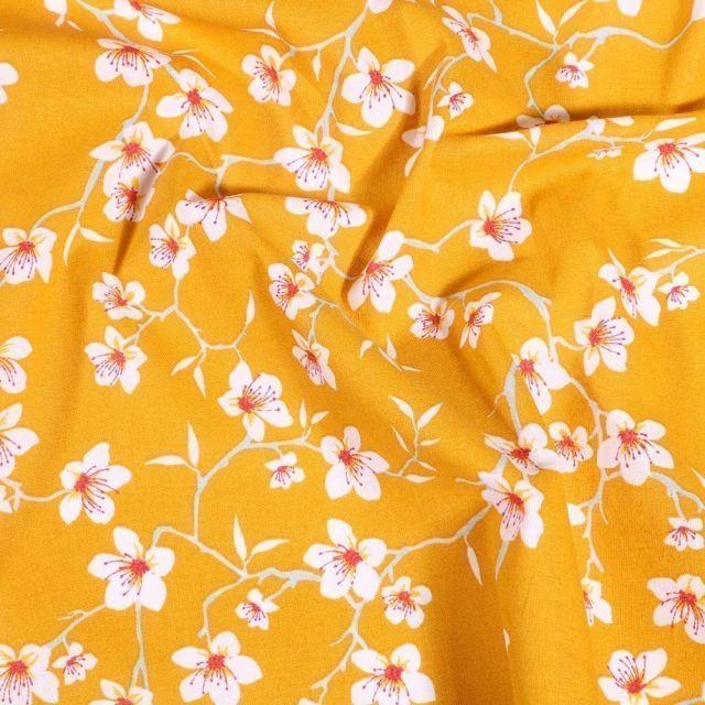 Tissu Coton imprimé Arty Fleur d'amandier sur fond Jaune - Par 10 cm