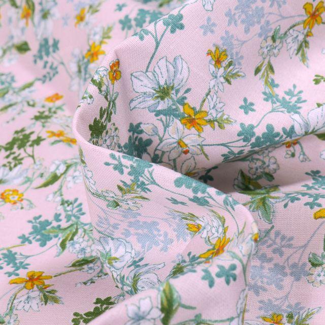 Tissu Coton imprimé Arty Amary sur fond Rose