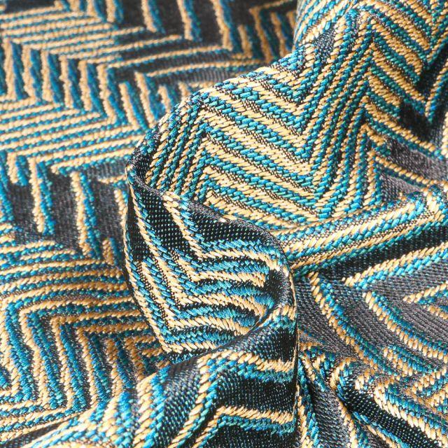 Tissu Toile jacquard Chevrons sur fond Bleu canard