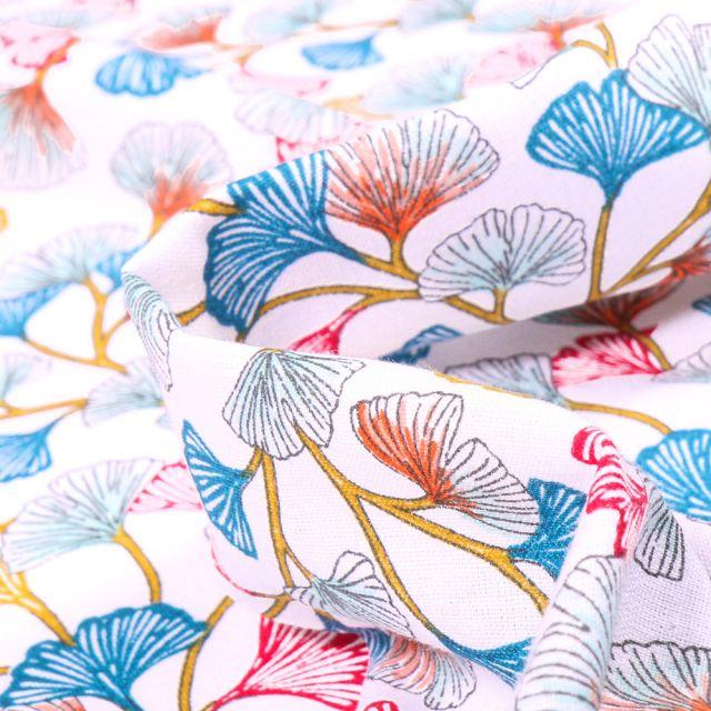 Tissu Coton imprimé Arty Gingko multicolore sur fond Blanc