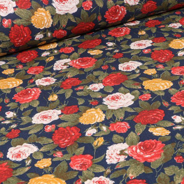 Tissu Coton enduit Roses jaunes rouges et blanches sur fond Bleu marine
