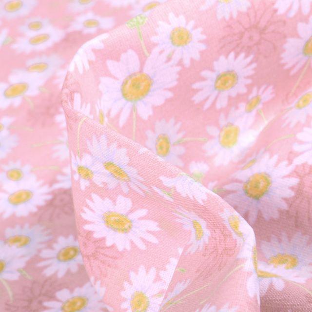 Tissu Coton imprimé Arty Marguerite sur fond Rose