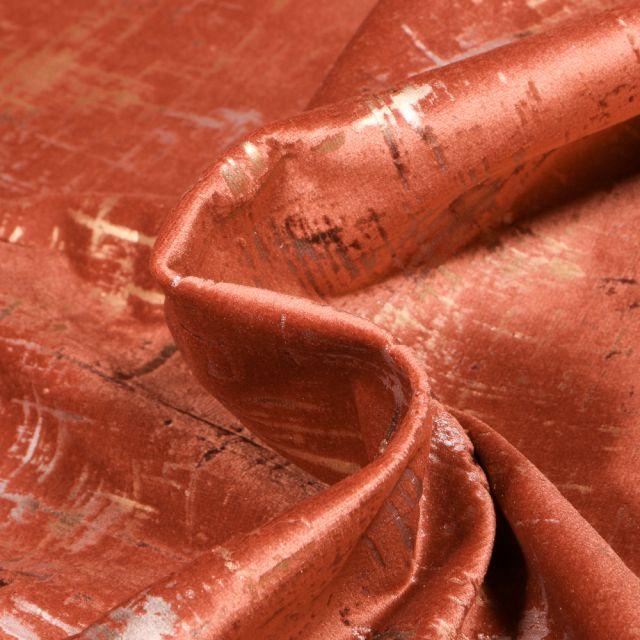 Tissu Velours d'ameublement Astral sur fond Terracotta