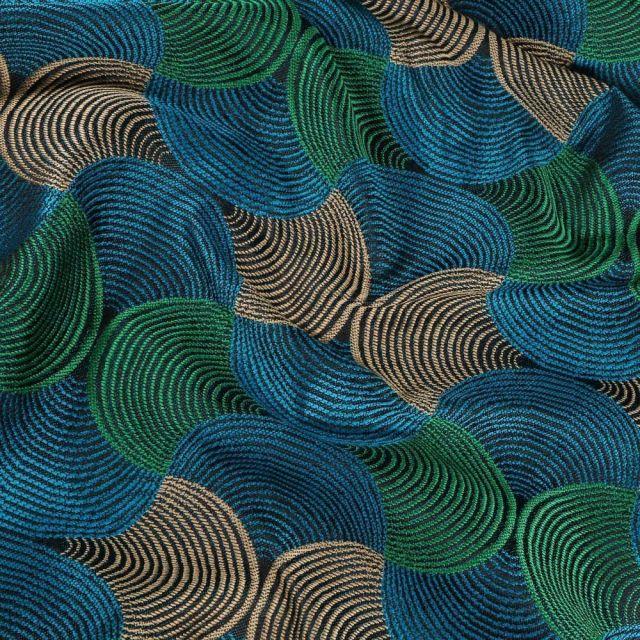 Tissu Toile jacquard Bakary sur fond Bleu - Par 10 cm