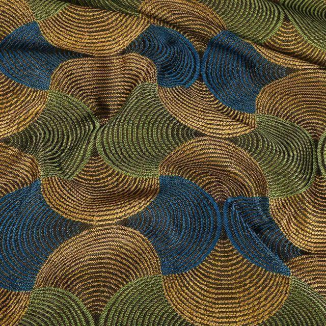 Tissu Toile jacquard Bakary sur fond Jaune - Par 10 cm
