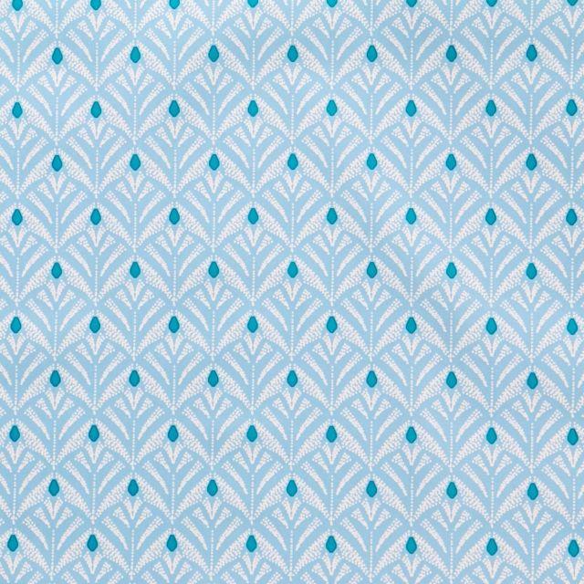 Toile Cirée Baker Motifs blancs et turquoise sur fond Bleu gris - Par 10 cm