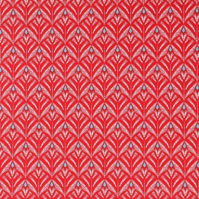 Toile Cirée Baker Motifs blancs et bleu ciel sur fond Rouge - Par 10 cm
