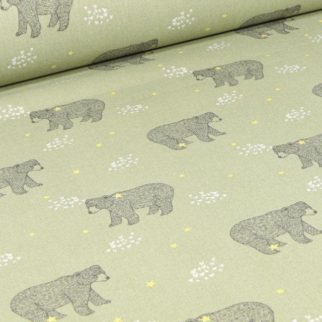 Tissu Coton imprimé Arty Baloo sur fond Vert kaki clair