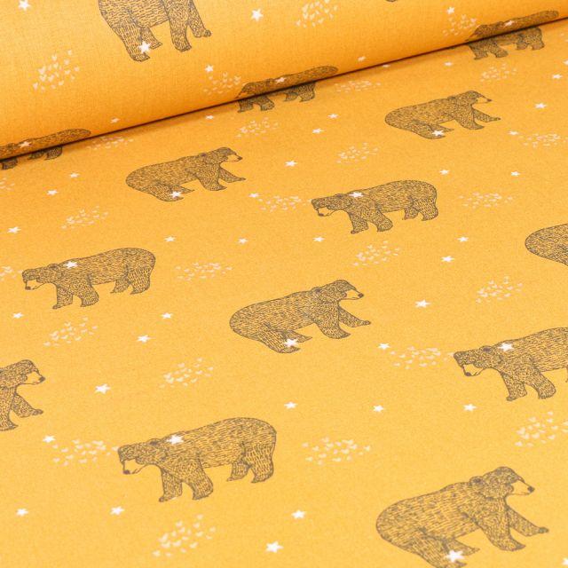 Tissu Coton imprimé Arty Baloo sur fond Jaune