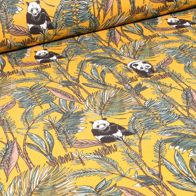 Tissu Coton imprimé Arty Bambou et panda sur fond Jaune