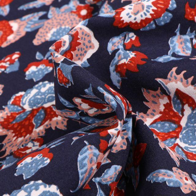 Tissu Viscose Arty Boho sur fond Bleu marine