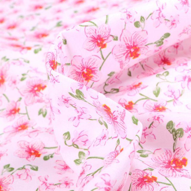 Tissu Coton imprimé Arty Orchidées sur fond Rose