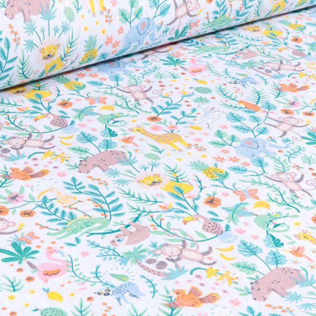 Tissu Coton sergé Arty Happy Jungle ciel sur fond Blanc