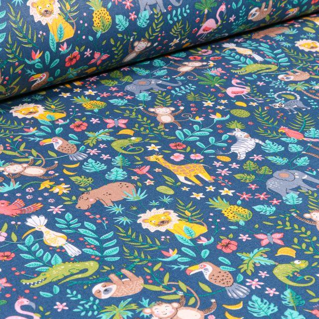 Tissu Coton sergé Arty Happy Jungle sur fond Bleu marine