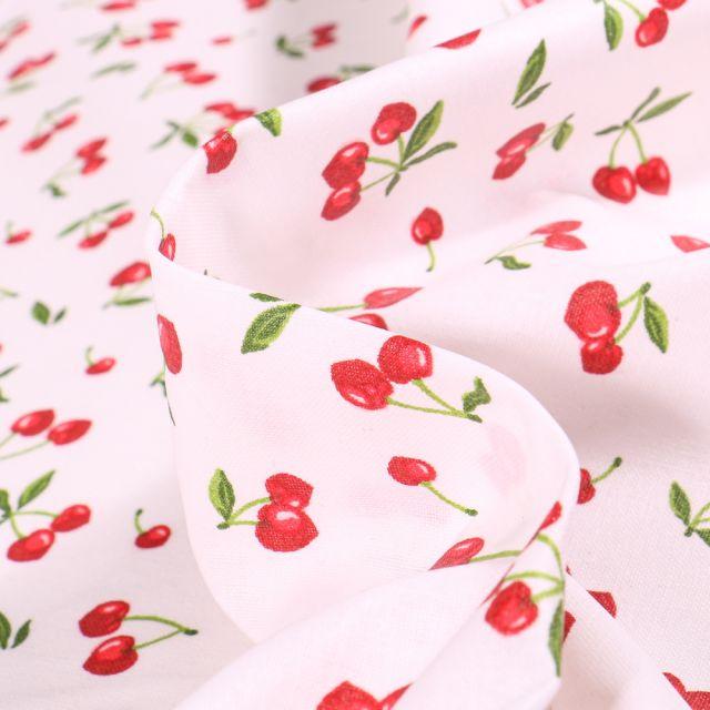 Tissu Coton enduit Cherry sur fond Blanc