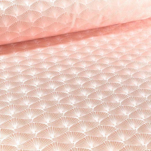 Tissu Jacquard Satiné Éventails lurex rose gold sur fond Blanc - Par 10 cm