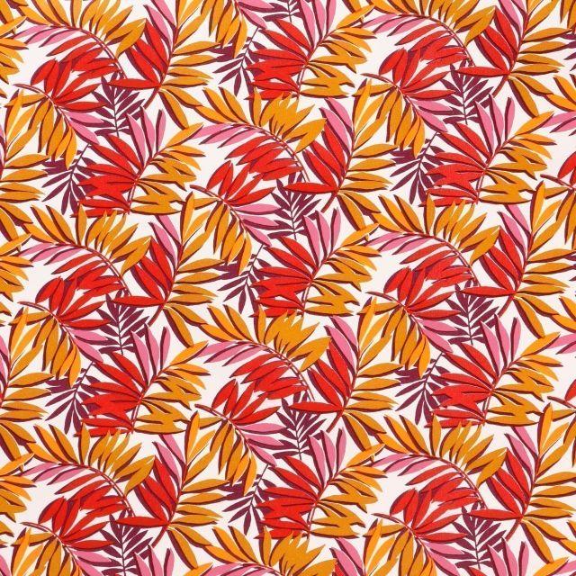 Toile Cirée Curacao Feuilles moutarde, roses, rouges et prune sur fond Blanc - Par 10 cm
