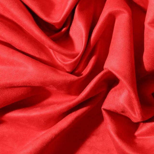 Tissu Suédine d'ameublement Rouge - Par 10 cm