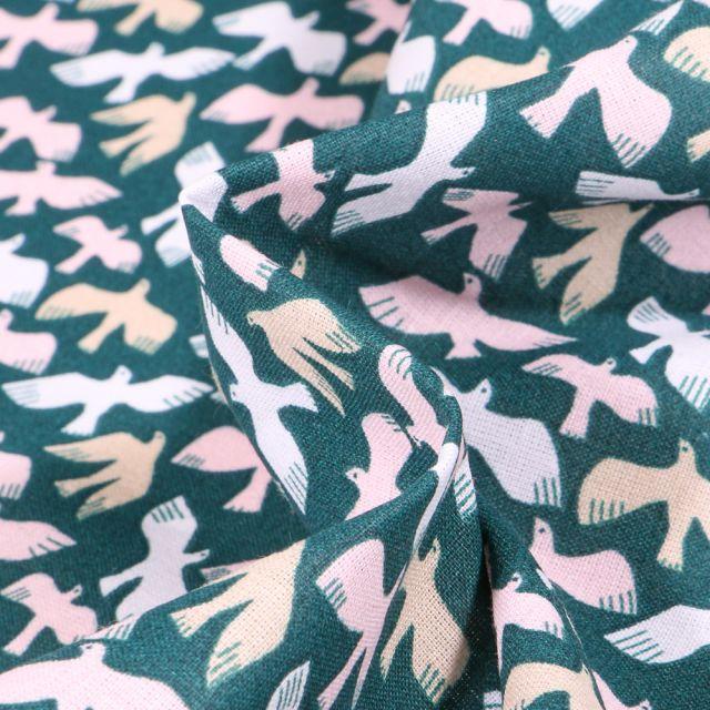 Tissu Coton imprimé Arty Oiseaux pastels sur fond Bleu canard