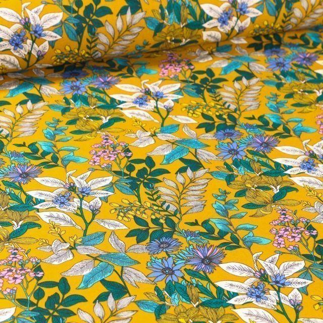 Tissu Coton imprimé Arty Marguerite sur fond Jaune - Par 10 cm