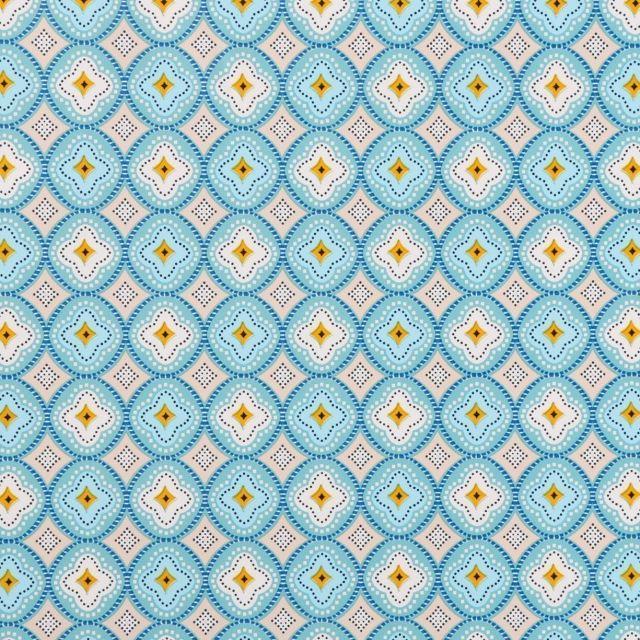 Toile Cirée Ibiza Rosaces bleu céladon, blanches et jaunes sur fond Beige - Par 10 cm