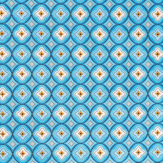 Toile Cirée Ibiza Rosaces Bleu turquoise, bleu marine et blanches sur fond Bleu céladon - Par 10 cm