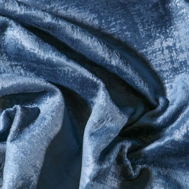 Tissu Velours d'ameublement Illusion Bleu - Par 10 cm