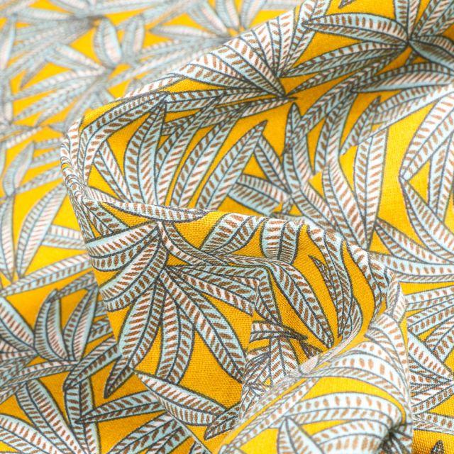 Tissu Coton imprimé Arty Janaina sur fond Jaune