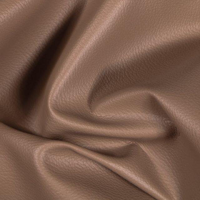 Simili cuir d'ameublement uni Taupe - Par 50 cm