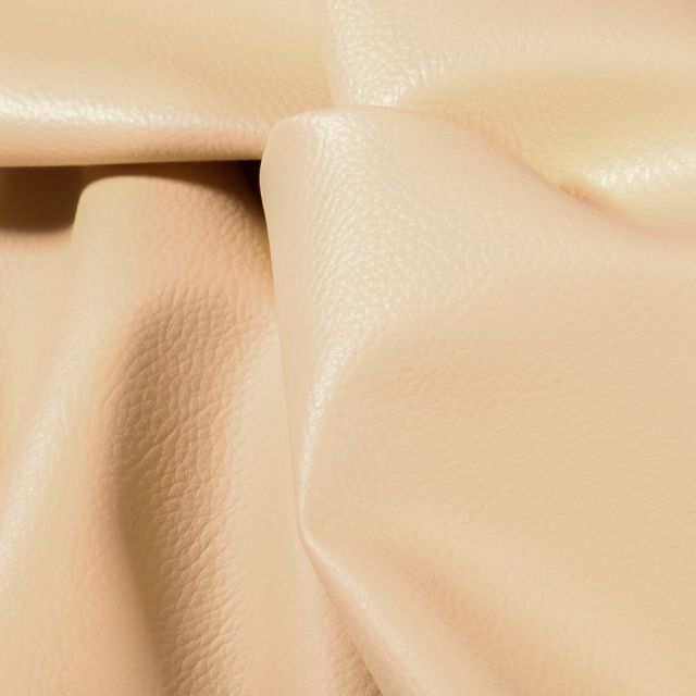 Simili cuir d'ameublement uni Ivoire - Par 50 cm
