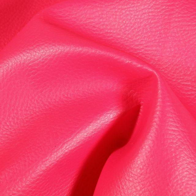 Simili cuir d'ameublement uni Fuchsia - Par 50 cm