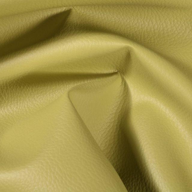 Simili cuir d'ameublement uni Vert fenouil - Par 50 cm