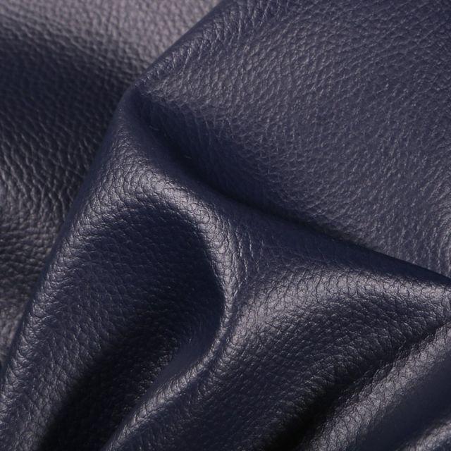 Simili cuir d'ameublement uni Bleu marine - Par 50 cm