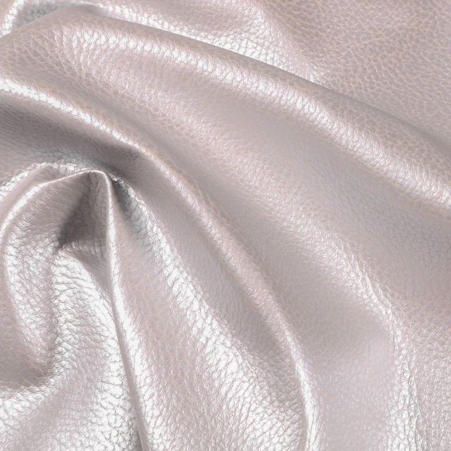 Simili cuir d'ameublement uni Argent - Par 50 cm