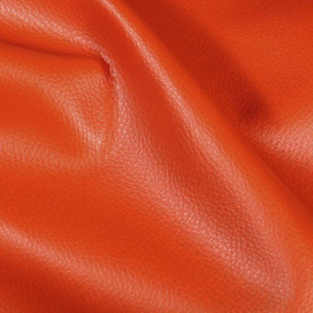 Simili cuir d'ameublement uni Terre de Sienne - Par 50 cm