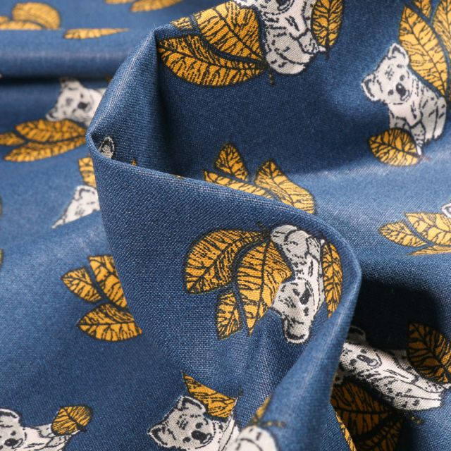 Tissu Coton imprimé Arty Koala sur fond Bleu denim