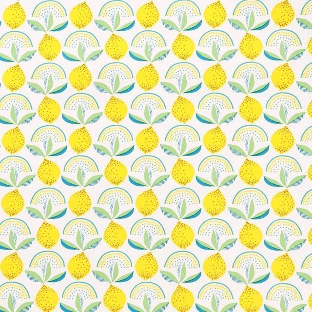 Toile Cirée Citrons jaunes sur fond Blanc - Par 10 cm