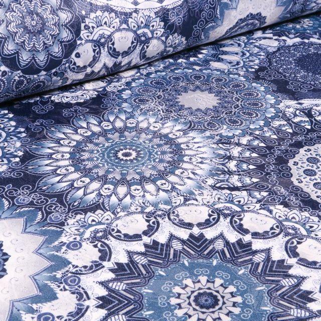 Tissu Jacquard damassé Mandala sur fond Bleu