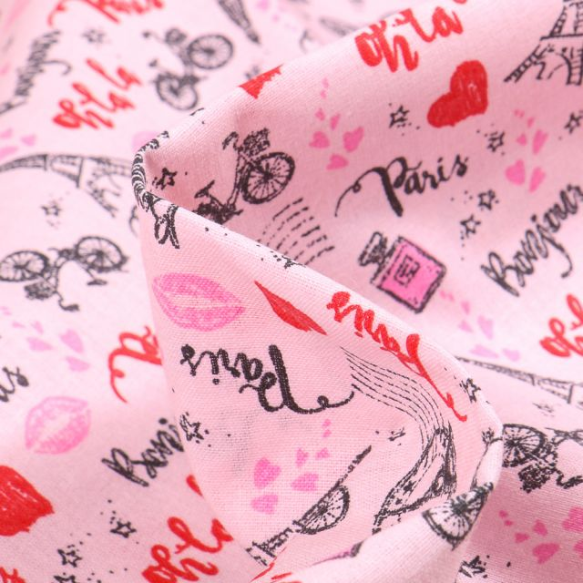 Tissu Coton imprimé Arty Le Marais sur fond Rose