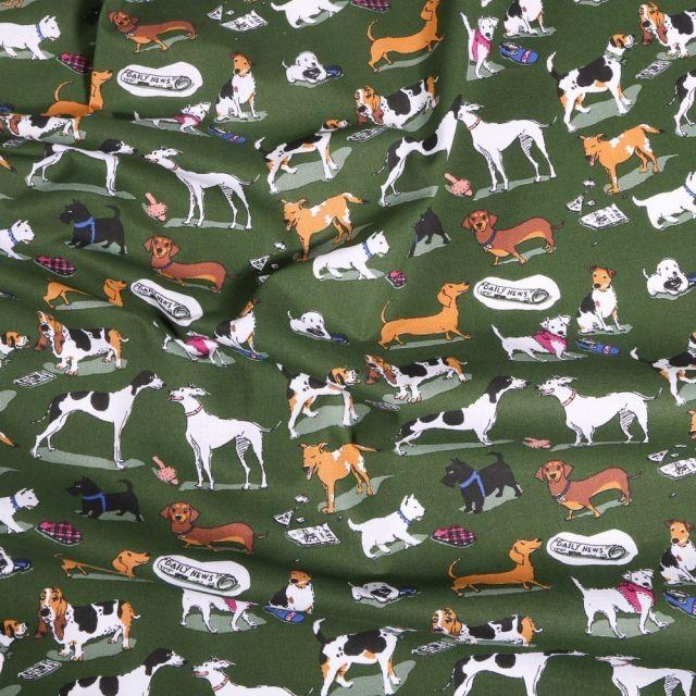 Tissu Coton imprimé Arty Doggy's sur fond Vert kaki foncé - Par 10 cm