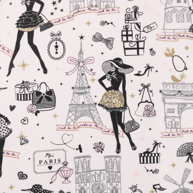 Tissu Coton Enduit Moi Paris Noir, doré et rose sur fond Ecru - Par 10 cm