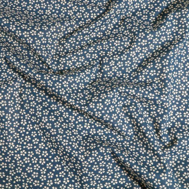 Tissu Coton imprimé Arty Myosotis sur fond Bleu marine - Par 10 cm