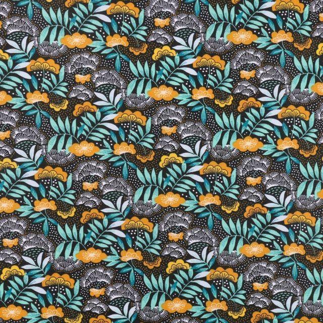 Tissu Coton Enduit Fleurs et feuilles moutarde, bleues et emeraude sur fond Noir - Par 10 cm