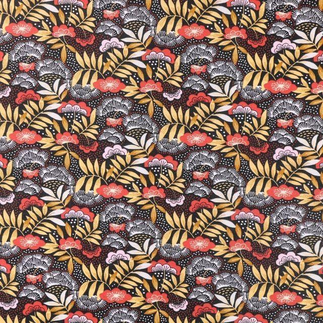 Tissu Coton Enduit Fleurs et feuilles moutarde, rouges et blanches sur fond Noir - Par 10 cm