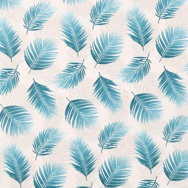 Tissu Coton Enduit Feuilles de Palmiers sur fond Ecru - Par 10 cm