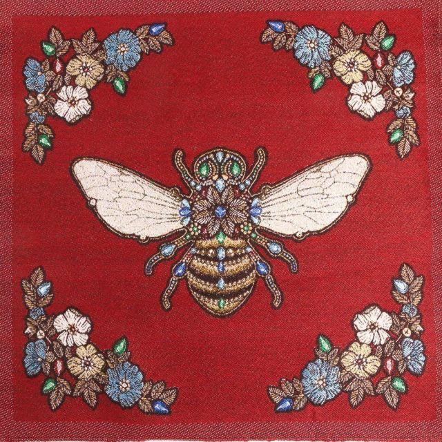 Panneau carré jacquard 48x48cm Abeille royale sur fond Rouge
