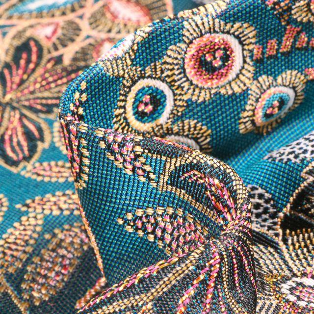 Tissu Jacquard Parade sur fond Bleu turquoise